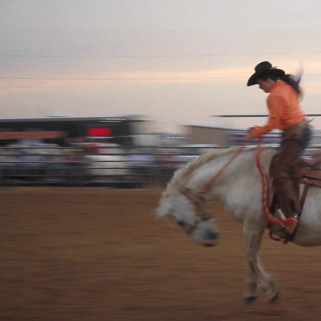 Ky Gripp wins the women's division during the 2nd Annual Championship Ranch Bronc Riding in Amarillo, Texas, May 25th, 2013
